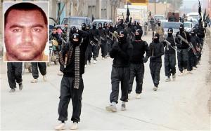 pasukan ISIS dan insert: foto asli Abu Bakar Al Badghadi (sumber: telegraph)