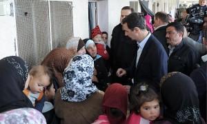 Bashar al-Assad visits displaced Syrians