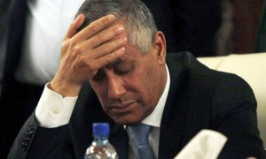 Libyan prime minister Ali Zeidan at a news conference after his release
