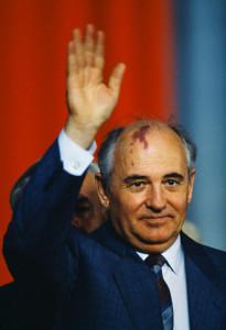 Mikhail Gorbachev on State Visit to Poland