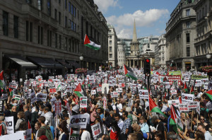 Demonstrators join a rally to support the people of Gaza, in central London