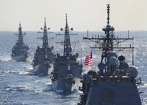US guided missile cruiser (R) leads Japa