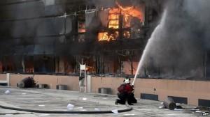kantor gubernur terbakar