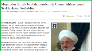 Contoh artikel dakwatuna, mendukung pemberontak Suriah, disebut Mujahidin
