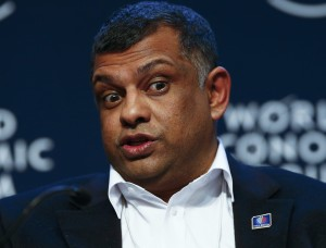 Fernandes, Group Chief Executive Officer of AirAsia, attends a session at the annual meeting of the World Economic Forum (WEF) in Davos