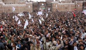 demo anti saudi di yaman