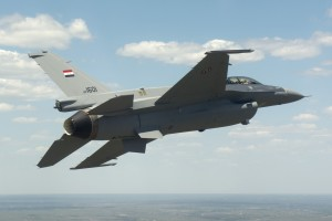 Handout shows a Lockheed Martin F-16 fight jet built for the Iraqi Air Force as it completes its first flight over Fort Worth, Texas