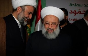 Hezbollah's Executive Council Chief Sheikh Nabil Qaouk (left) and Sheikh Maher Hammoud (right) in a Hezbollah ceremony in Sidon