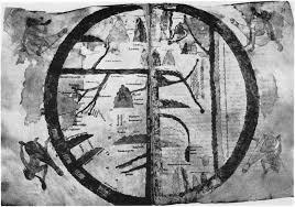 """Peta kuno tahun 1109M  yang bertema """"Garden in the East"""" berbahasa Arab dan Spanyol dibuat berdasarkan literatur dan kitab-kitab kuno tentang lokasi Taman Surganya nabi Adam dan Siti Hawa di bagian timur bumi."""