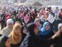Potret Demonstran pada peringatan Hari Perempuan di Jalur Gaza.
