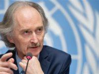 Potret Geir Pedersen saat berbicara di konferensi pers menjelang pertemuan komite konstitusi Suriah di Jenewa. Sumber: Presstv