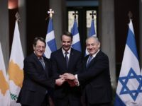 Potret Perdana Menteri Yunani Kyriakos Mitsotakis (kiri), Presiden Siprus Nicos Anastasiades (tengah) , dan Perdana Menteri Israel Benjamin Netanyahu. Sumber: Memo